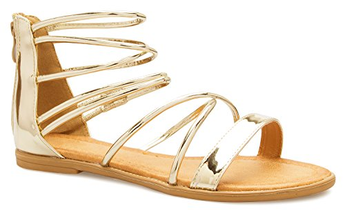 OLIVIA K Women's Flat Strappy Gladiator Sandals - Shiny, Patent, Sexy, Comfortable