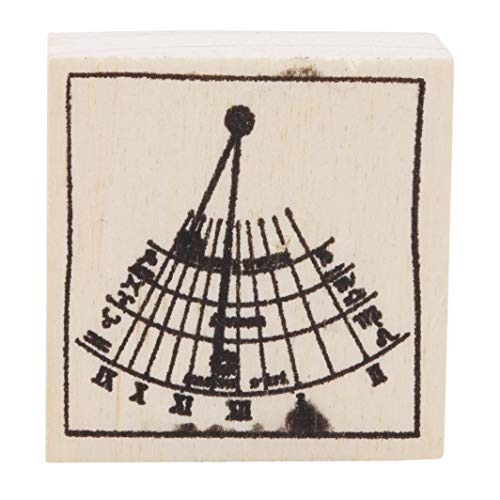 YouCY Wooden Rubber Stamps for Scrapbooking Planner Albums Diary Decoration Birthday Thinking Rays Graphics Stamp DIY Craft Nine Planet Stamp Toy,Sundial by YouCY (Image #1)