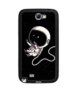 Cute Cartoon Outer Spaceman Astronaut Samsung Galaxy Note 2 Plastic and TPU Durable Phone Case Cover(Laser Technology)