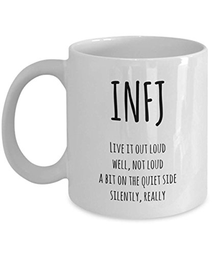 SAYOMEN - INFJ definition funny coffee mug / myers briggs personality type / introver introverted mug / live it out loud but silently, MUG 11oz