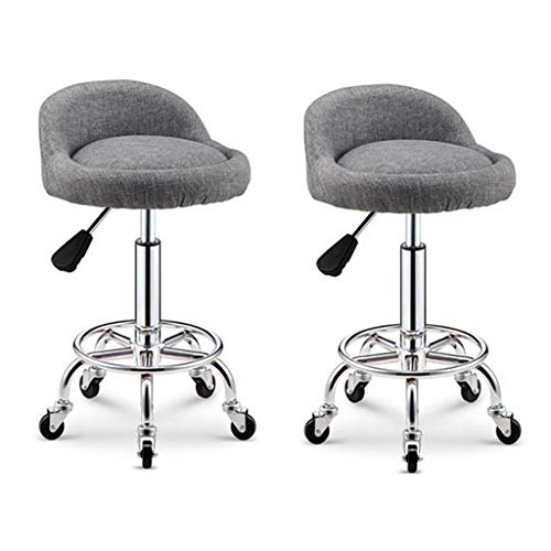 ZUOANCHEN Bar Stools Adjustable Hydraulic Tattoo Spa Massage Bench Linen Sponge Cushion Thick Multicolor 5 Casters Can Be Curled Makeup Work Rotate Stool (Color : Gray, Size : Two) -
