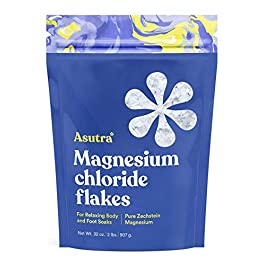 ASUTRA Magnesium Chloride Bath Flakes, 2 lbs | For Foot & Body Soaks| Relieve Muscle Cramps | Fight Joint Pain | Stress, Anxiety, Headache Relief | Pure Zechstein | Absorbs Faster Than Epsom Salts