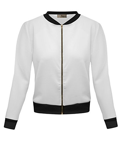 - HyBrid & Company Womens Bomber Jacket KJK45122 1139 Off White Large