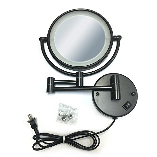 Wall Mount Makeup Mirror with LED Lighted Wall Mounted 5x Magnification,ORB Finish (8-inch,5x) by LeHang (Image #2)