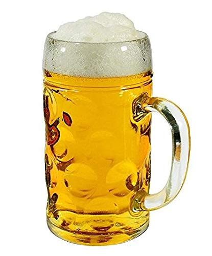 34 Oz 2 in one set German Style Oktoberfest Heavy-Duty Extra Large Glass Beer Mug - Clear Glass Hot/Cold Drinking Stein Mug Cup Tumbler (2 Pack) ()