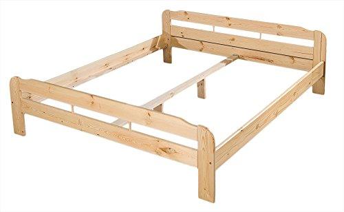 Kieferbett - Massiv Holz Bett Kiefer natur lackiert - Grösse 100x200
