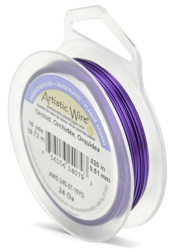 Beadalon Artistic Wire 24-Gauge Silver Plated Orchid Wire, 15-Yards