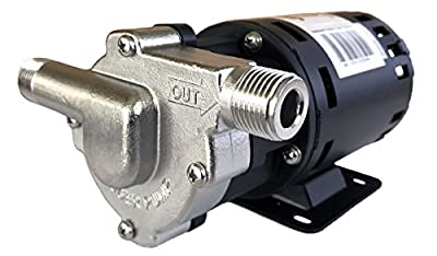 """CHUGGER PUMP CPSS-IN-1 Stainless Steel 115 Volt Inline Home Brewing System Beer Pump, 55"""" Cord WITH Plug, Inlet 1/2"""" x Outlet 1/2"""" MPT, ETL-Certified, USFDA Food Compliant Materials"""