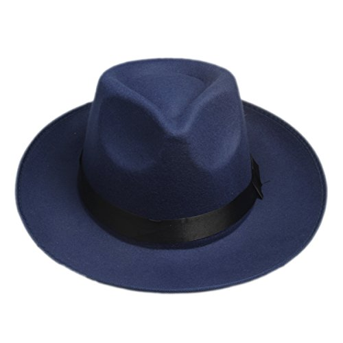 Elee Vintage Style Men Women Hard Felt Hat Wide Brim Fedora Trilby Panama Hat Gangster Cap (Navy (Women Gangsters)
