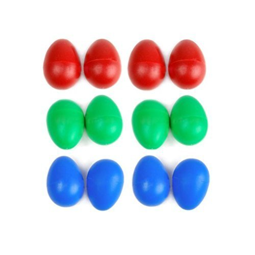FOXNOVO 12pcs Plastic Percussion Musical Egg Shakers for kid(3 colours)