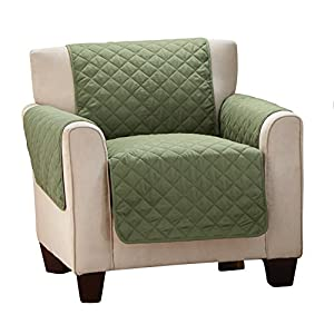 Merveilleux Reversible Quilted Furniture Protector Cover, Chocolate/Tan, Olive/Sage,  Chair