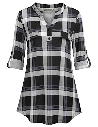 - Nandashe Plaid Shirts for Women Short Sleeve, Ladies V Neck Cuffed Sleeve Tops for Women to Wear with Leggings Curved Hem Fake Pockets Versatile Blouse Business Casual Clothes for Women Black White M