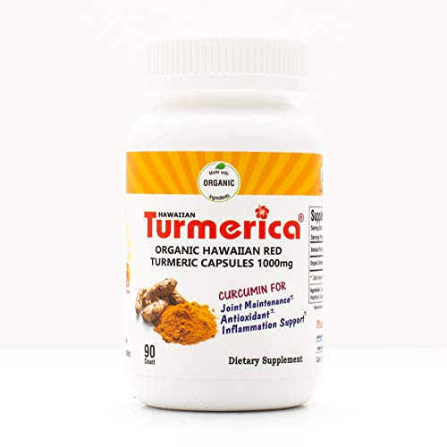 - Hawaiian Turmeric Curcumin 1000mg Capsules, 100% Hawaiian Turmeric with no Other fillers, Made in The USA, 90 Vegetarian Capsules