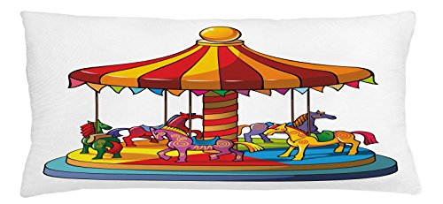 Lunarable Kids Throw Pillow Cushion Cover, Cartoon Carousel Horses Merry Go Round Amusement Park Roundabout Playground Print, Decorative Square Accent Pillow Case, 36 X 16 inches, Multicolor