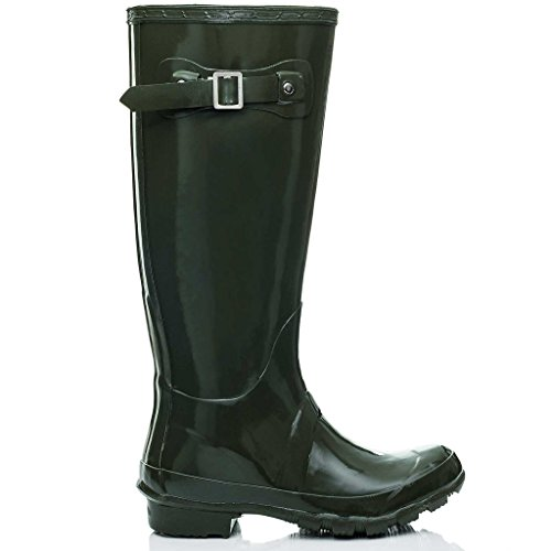 High KARLIE Boots Wellington Knee Festival Spylovebuy Rain Flat Green Gloss Wellies Y1qwHSPx