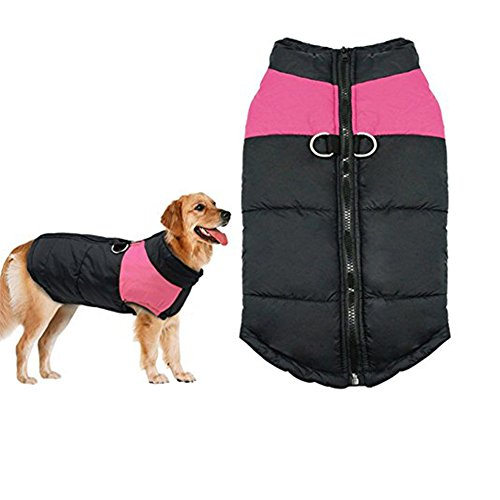 Winter Dog Coat Vest - Small Waterproof Dog Coat Cotton Lined For Warmth, Chest Protector Puffer Pet Dog Puppy Clothes Vest For Autumn Winter (XL (Weight:11-15.5lb Back:14.66inch), Pink)