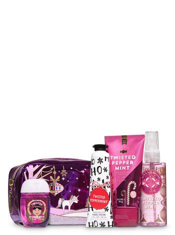 Bath and Body Works Twisted Peppermint Holiday Mini Cosmetic Bag Gift Set. ()