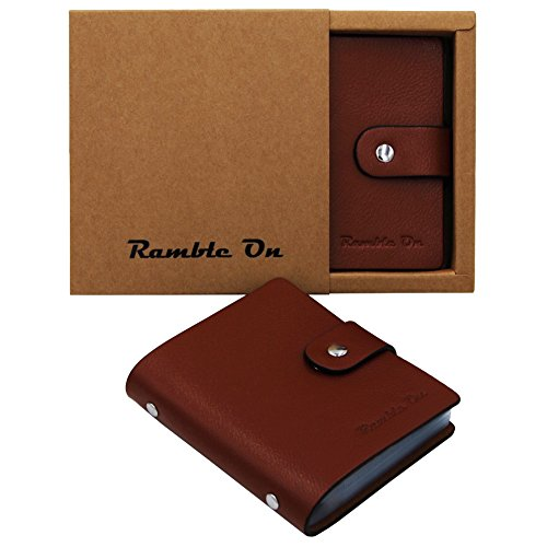 Ramble On Genuine Leather Business Card / Credit Card Holder - Compact Storage - Holds up to 80 Business Cards or 40 Credit Cards - for All your Important Cards - Comes in a Great Gift Box (Brown)