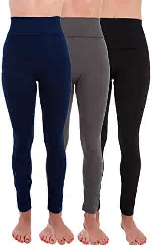 367135ba42164 Homma 3 Pack High Waist Fleece Lined Thick Tummy-Compression Brushed  Leggings