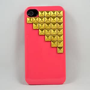 Morechoice DIY Punk style Studded Iphone 4 Case,Iphone 4S Case, Cool Gold Pyramid Studs with Pink Hard Case, Designer Iphone Case