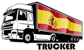 Grande International Camión Driver Camionero Impreso con España Bandera Española Pegatina Vinilo Coche 300x180mm: Amazon.es: Coche y moto