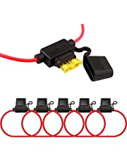 FULARR 5Pcs Premium ACU Medium in-Line Waterproof Blade Fuse Holder with 16 AWG Wire Harness, Free 15Pcs Standard Blade Fuses + 1Pcs Fuse Extractor + 5Pcs Wire Ties –– 12V / 24V