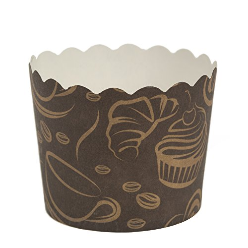 Blue Sky 1262 16 Count Scalloped Cupcake Baking Cups, Large, Coffee ()