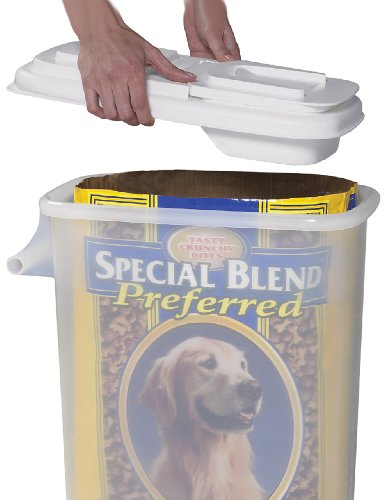 Buddeez Large (32QT) Fresh Dry Dog & Cat Food Plastic Storage Container With Flip Lid & Pour Spout For Kibble, Bird Seed, Rice and Bulk Food BPA Free