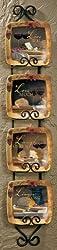 Wild Wings Vineyard Square Mini Collector Plates, Multi-color,