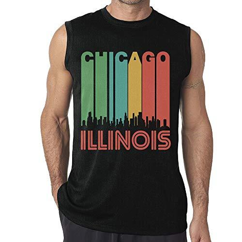 Illinois Singlet - JohnKi01 Mens Chicago Illinois Sleeveless Tee Cotton Running Sleeveless Singlet Black