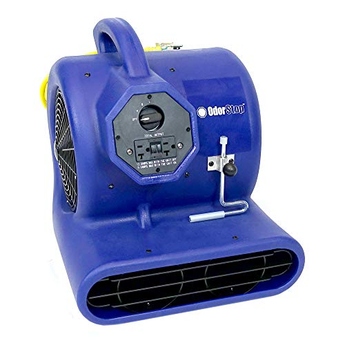 (OdorStop Heavy Duty Air Mover, 3-Speed with Yellow Power Cord w/Lighted End and Unbreakable Roto-Molded Design, Throws Air up to 100 Ft. (OS2800) )