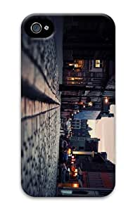 case girly cover cobblestone street PC Case for iphone 4/4S
