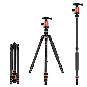 GEEKOTO Tripod 201cm, Carbon Fiber Camera Tripod Monopod with 360 Degree Ball Head and 1/4 inch Quick Release Plate, Professional Tripod Load up to 12kg