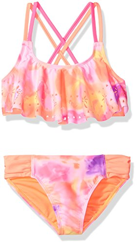 Angel Beach Big Girls' Swim Tiger Beat Ombre Warm Bikini Set, Multi, 7