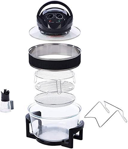 17L 2 en 1 Deluxe Friteuse à Air Noir & Verre Friture Profonde Sans Gras Cuisinière halogène saine + Accessoires inclus