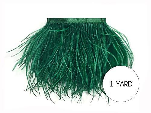 Moonlight Feather   1 Yard - Hunter Green Ostrich Fringe Trim Wholesale Feather (Bulk) Halloween Prom Costume 2 Ply Fashion Craft