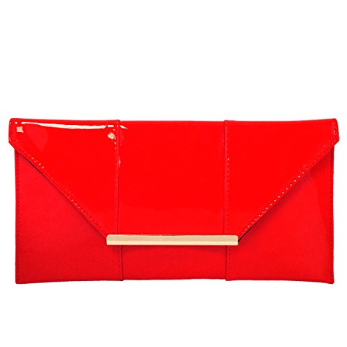 (Faux Patent Leather Envelope Candy Clutch, Red )