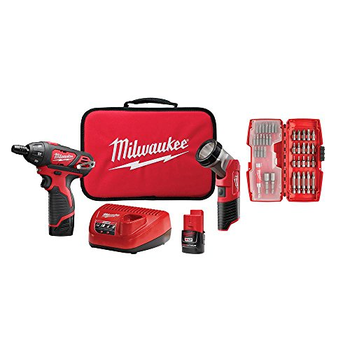 Milwaukee M12 Cordless 1/4 in. Hex Screwdriver with 40-Piece Bit Set and FREE 165-Lumens LED Worklight, Bag,Two(2) M12 Batteries and Charger Included - Cordless Hex Charger