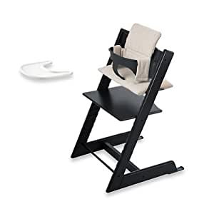 stokke tripp trapp bundle black high chair black baby set grey loom cushion. Black Bedroom Furniture Sets. Home Design Ideas
