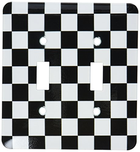 - 3dRose lsp_154527_2 Check Black and White Pattern Checkered Checked Squares Chess Checkerboard Or Racing Car Race Flag Double Toggle Switch