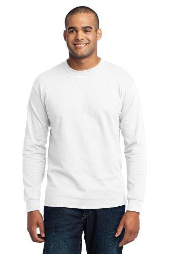 - Port & Company Men's Long Sleeve 50/50 Cotton/Poly T Shirt 6XL White