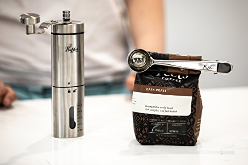 Flafster Kitchen Manual Coffee Grinder- Hand Coffee Bean Grinder With Ceramic Mechanism- Portable Stainless Steel Burr Coffee Mill With Foldable Stainless Steel Handle - Ergonomic Design - Accessories by Flafster Kitchen (Image #3)