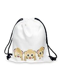 Fullprint Drawstring Bag Backpack Rucksack School Book Bags Gymbag Gym Sack Outdoor Sackpack Shopping Monkeys White
