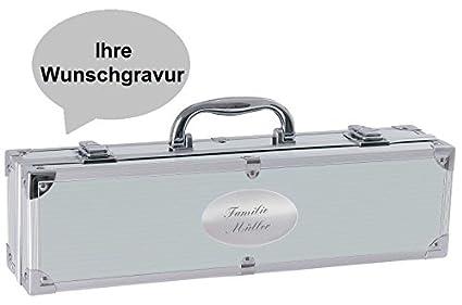 Barbacoa maletín con 3accesorios cubertería de barbacoa incluidos. Gravur