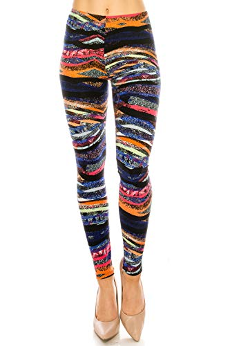 The Leggings Gallery Women's Printed Fashion Leggings Ultra Soft Solid & Patterned - Regular/Plus Sizes (Quicksand, Regular)