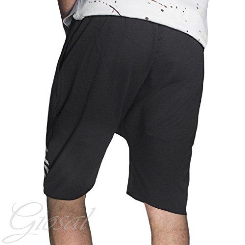 Pantalone Uomo Corto Tuta Stampa Cavallo Basso Righe Nera Elastico Molla GIOSAL