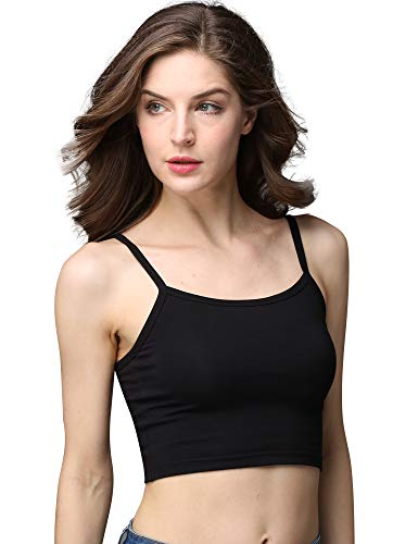 cunlin Crop Top Cami Camisole Summer Women Sexy Slim Sleeveless Spaghetti Strap Tank Top Black S