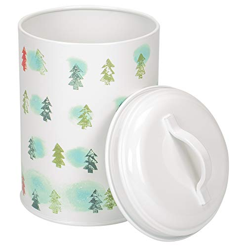 Celebrate the Home DAK745049 Holiday Fillable Cookie Tin, Winter Trees-Light ()