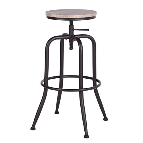 None Set of 2 Black Metal and Reclaimed Oak Finish Seat Industrial Style Adjustable Swivel Counter Height Bar Stools with Legs Support (Oak Swivel Stool)