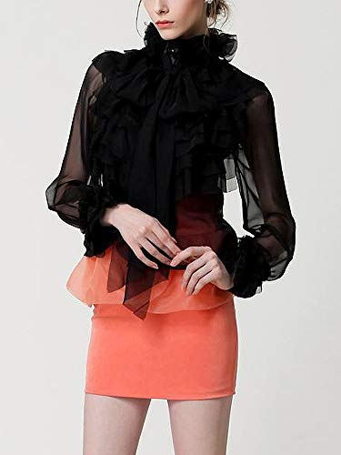 Withchic Black Women Tops High Neck Bow Tie Front Layered Ruffle Sheer Clear Blouse (M)
